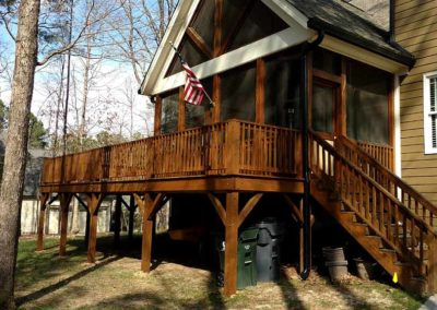 Stained wrap around deck with stairs