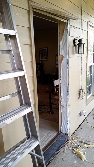 Door jamb leg peplacement removing damaged wood