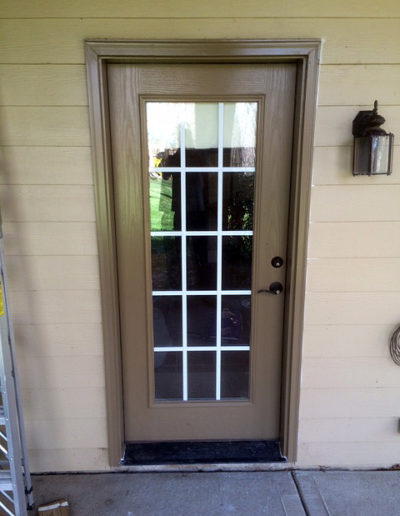 Picture showing the new exterior door leg jam and trim