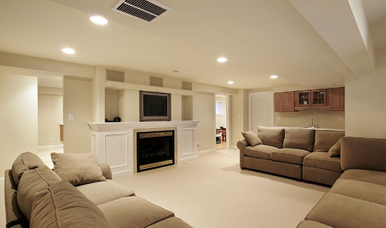 Family Room in Basement Remodel