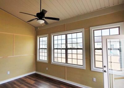 interior of newly build sunroom