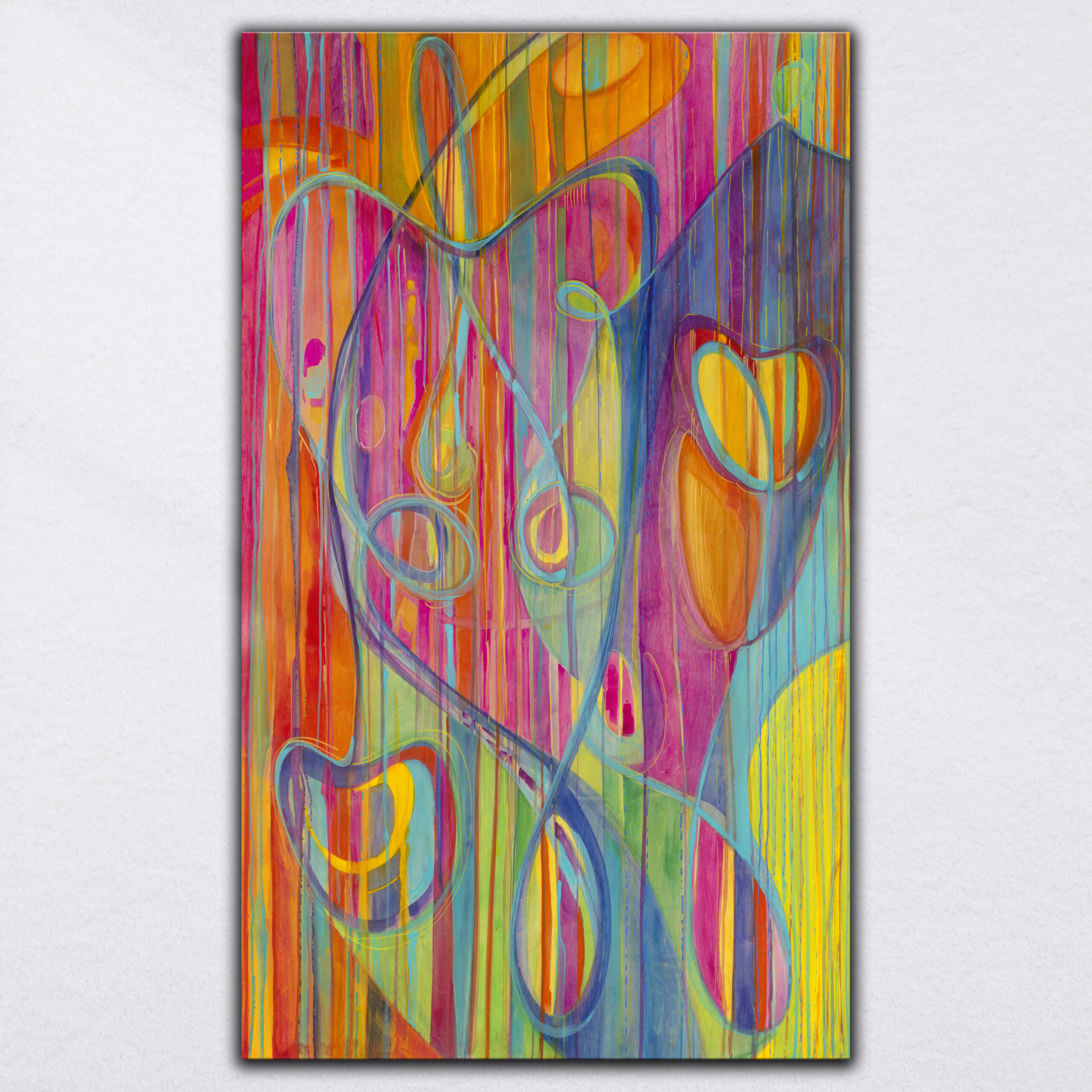 """""""Cut to the Light"""" 2021     Original Painting 60 x 36 inches Fluid Acrylic, Watercolor, Colored Pencil on Birchwood Panel"""