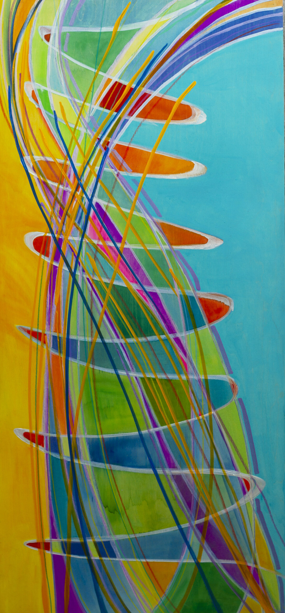 """Day"" Original Art on Birchwood Board 30 x 60 inches fluid acrylic and metallic mediums"