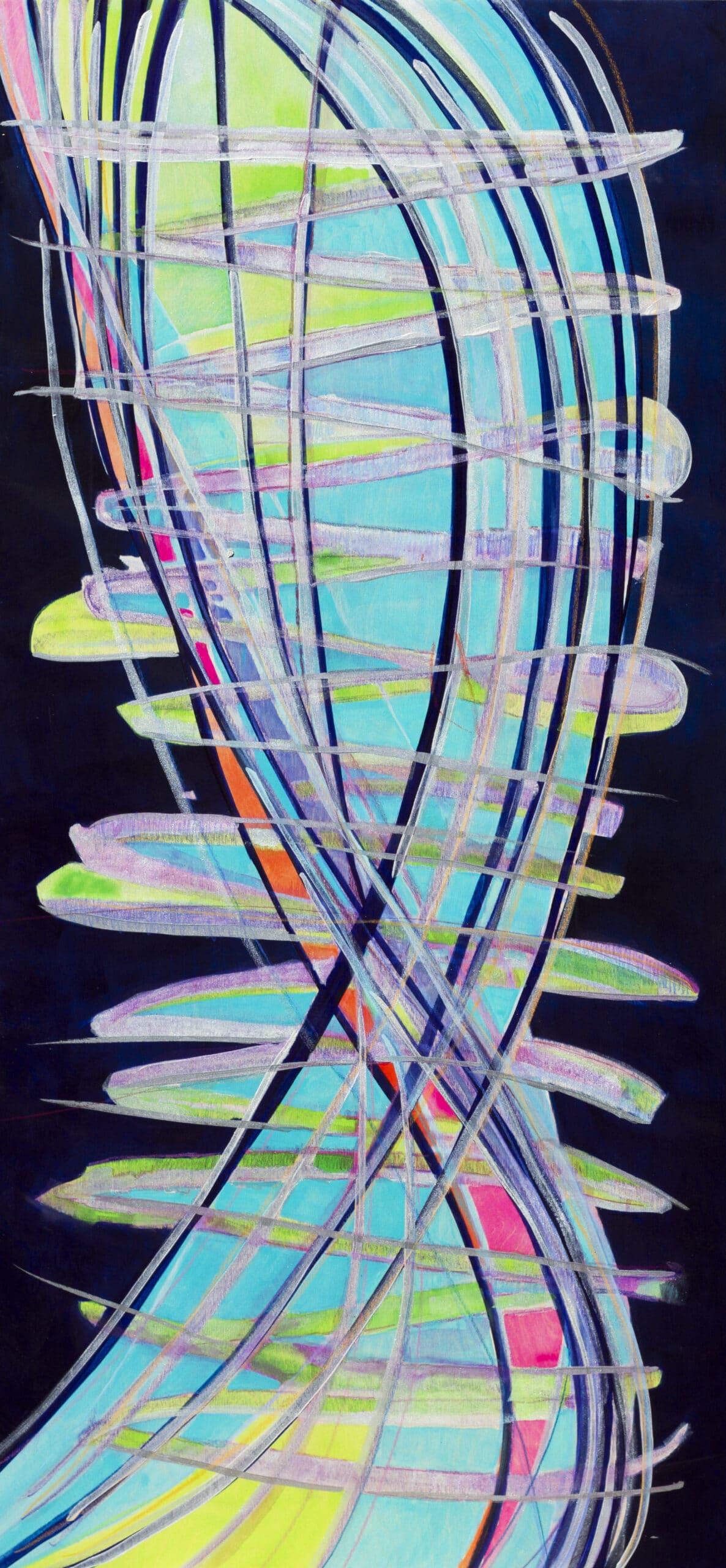 """Night"" Original Art on Birchwood Board 30 x 60 inches fluid acrylic and metallic mediums"