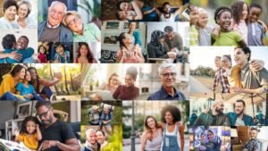 Collage of diverse individuals with a healthy mental health and wellness