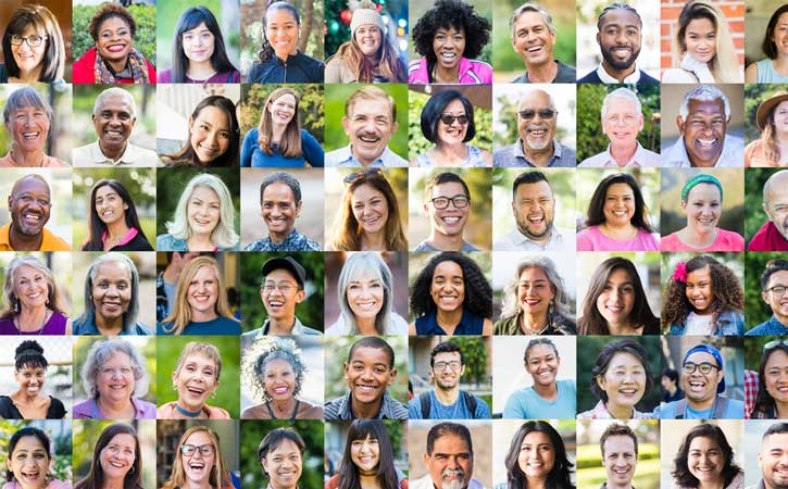 collage of diverse faces smiling in the community