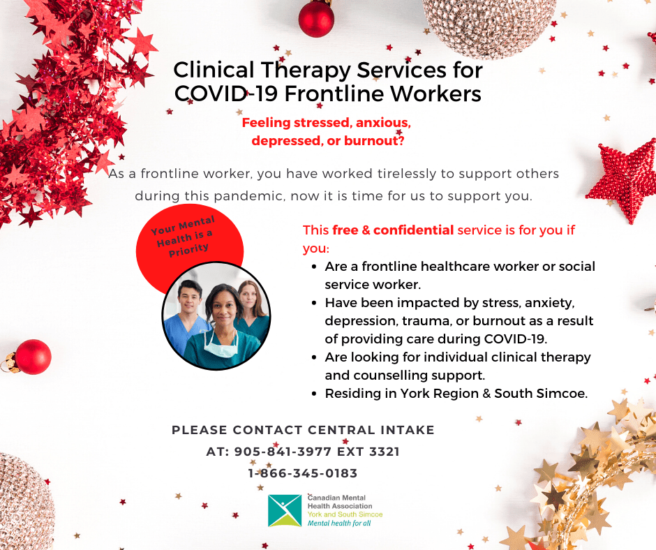 Clinical therapy services for COVID-19 Frontline Workers poster from CMHA