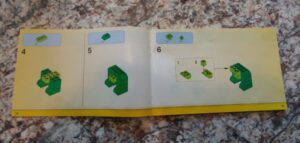 second set of steps on how to make a green lego dinosaur