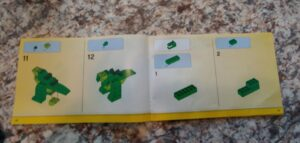 steps 11-12 on how to create the body of a green lego dinosaur