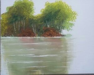 artwork of a lake with trees on the other end