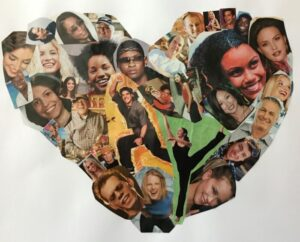 a collage in a heart shape for virtual art wall