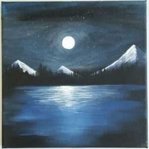 a landscape painting of mountains in a moonlit sky and lake