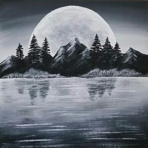 moon art behind mountains, forest and lake