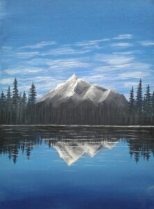artwork of mountain with forest reflecting onto a lake