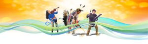 graphic of indigenous culture with musical instruments in a colourful stream