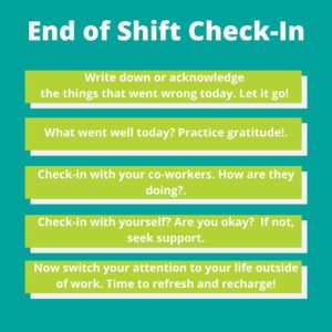 end of shift check-in guideline for frontline workers to keep mental health good