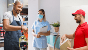 three different frontline workers with salesperson, nurse, and delivery guy