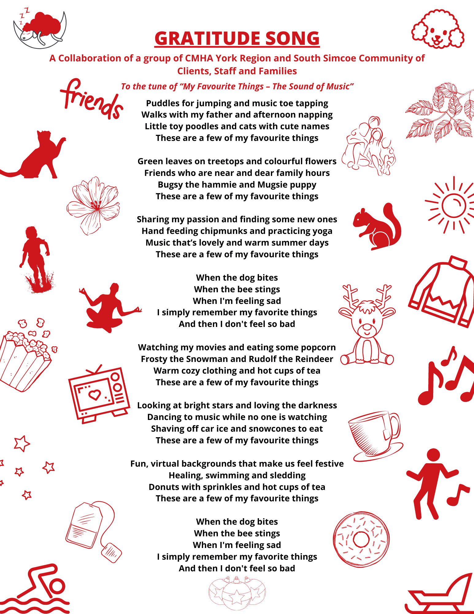 """Lyrics for CMHA Gratitude song """"My favourite things - the sound of music"""""""