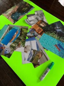 pictures cut up and scattered across green empty vision board