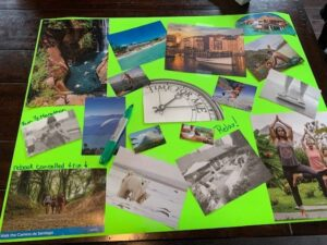 start labelling with green markers on vision board