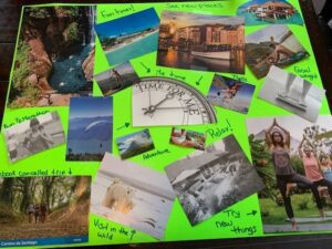 complete traditional vision board with green poster board filled with images