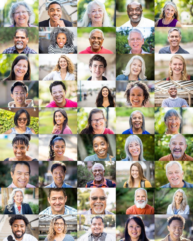 large collage of smiling mental health clients