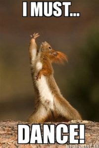 I must dance meme with dancing squirrel