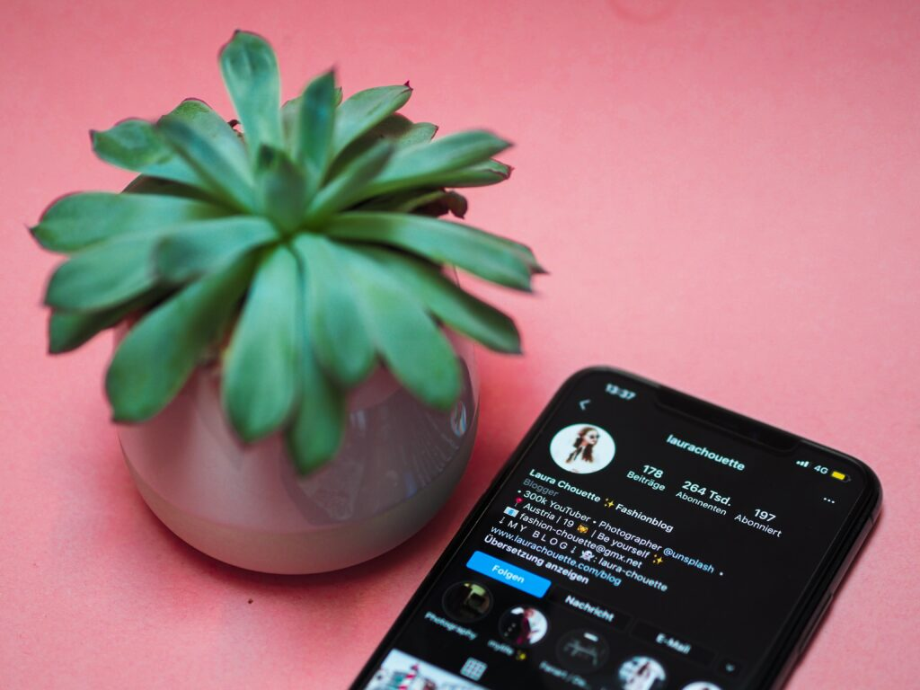 smartphone screen opened to instagram page on a pink table next to plant