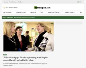 Screenshot of York Region website article discussing York Region's plan for mental health and addictions hub