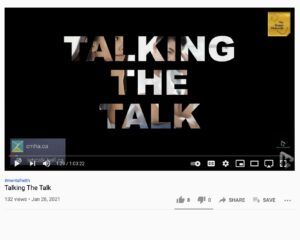 """Screenshot of video that reads """"talking the talk"""" for Bell Let's Talk Day."""