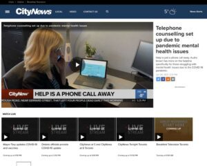 Screenshot of City News website with news banner about telephone counselling due to mental health affects from COVID-19