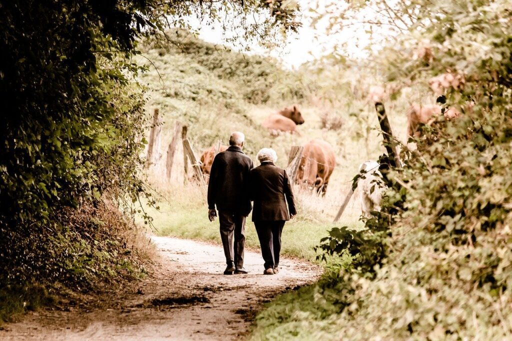elderly couple walking away outside holding arms