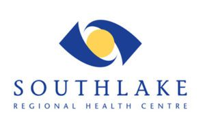 Southlake Regional Health Centre logo, blue with yellow