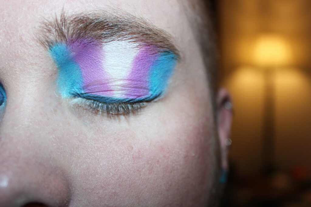 closeup of an eyelid with purple, white and blue makeup on