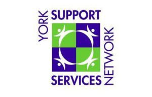 York Social Services Network logo, purple and green