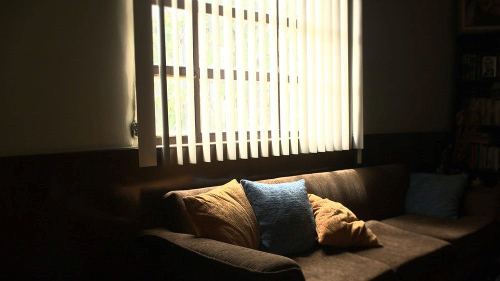 couch in front of a window