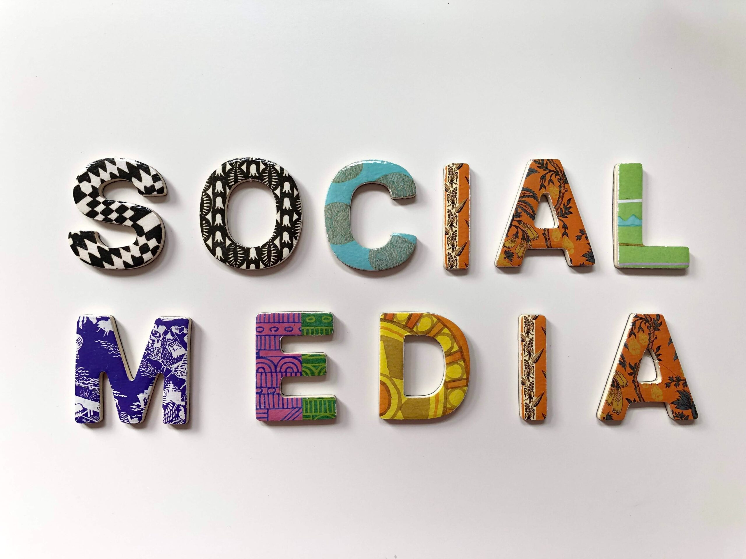3D decorative patterned letters on white background spelling the word 'social media'