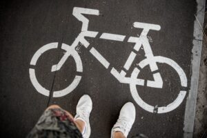 Bike painted on the pavement