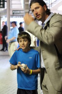 Getting that autograph after the game at Wrigley Field