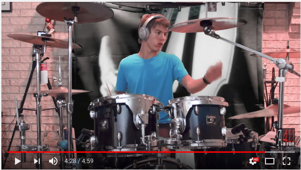 Aaron Hanania drum cover for some of the top hit songs. On Youtube at www.Aaron411U.com