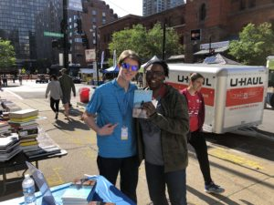 First customer at the 2019 Printers Row Literature Fest. Photo courtesy Ray Hanania