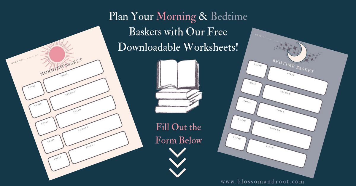 bedtime basket morning basket worksheet
