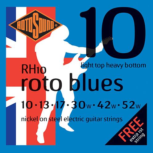 RH10 Rotosound Roto Blues RH 10 Nickel regular Light Top Heavy Bottom Hybrid Gauge Electric Guitar Strings giutar guage stings srings rock palm muting blue