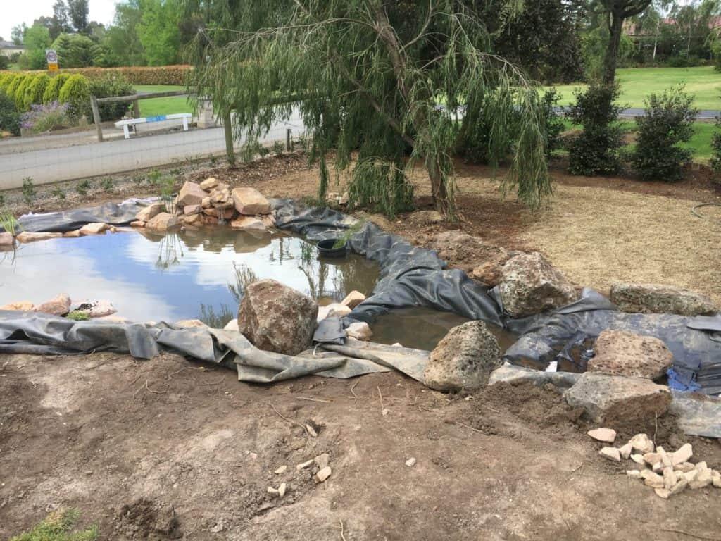 DIY Garden stream construction