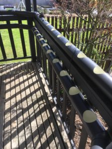 Nutrient film pipes on verandah