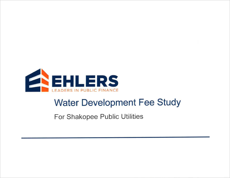 Cover of 2020 Ehlers Water Development Fees Study