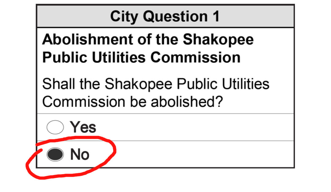 Ballot with NO vote circled in red
