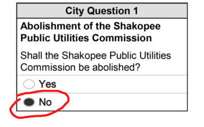 I am a NO vote on the City's attempt to abolish the Shakopee Public Utilities Commission.