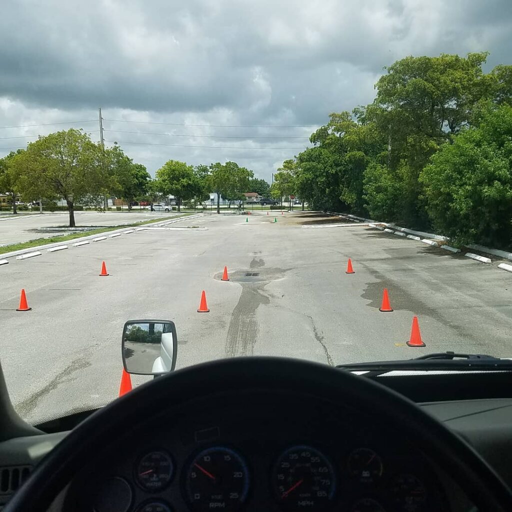 view from semi truck with cones
