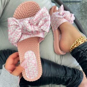 Women Slippers Spring Summer New Color Printed Bow Women Flat Non-slip Durable Beach Slippers Casual Versatile Home Sandals